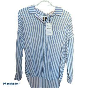 New Zara Striped Blouse NWT